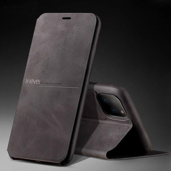 Leather Case Flip Stand Holder Soft Touch Back Cover For iPhone 11 Pro Max