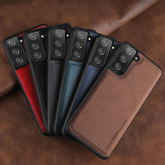 Original Soft Silicone Edge Back Leather Case For Samsung S21 Ultra Plus 5G