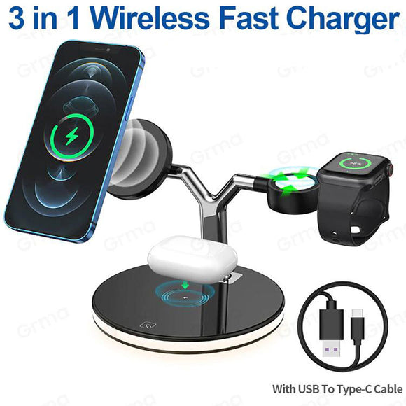 3 in 1 Magnetic MagSafe 15W Wireless Charger Fast Charging for iPhone 12 Series Apple Watch Airpods Pro