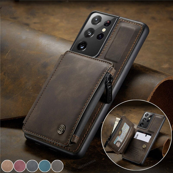 Zipper Wallet Card Cover Flip Leather Case For Samsung Galaxy S21 S20 Note 20 Series