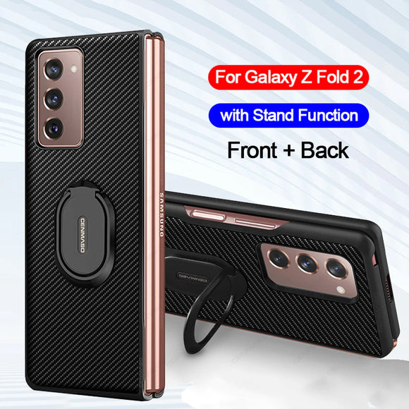 Luxury Carbon Fiber Texture Leather Stand Shockproof Back Cover Case For Samsung Z Fold 2 5G