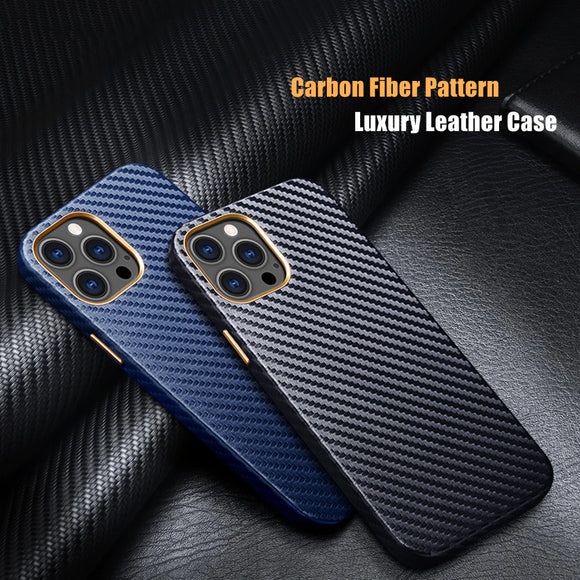 High end Leather Carbon Fiber Pattern Protective Case for iPhone 12 11 Series
