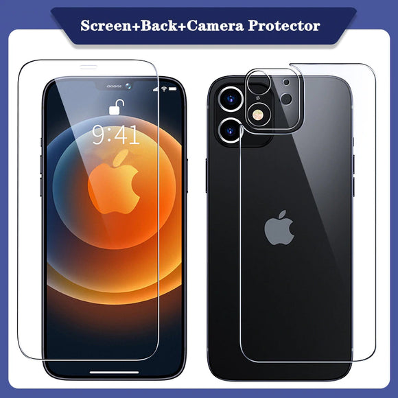 3 in 1 Tempered Glass Case Screen Protector & Camera Lens Film Glass For iPhone 12 Series