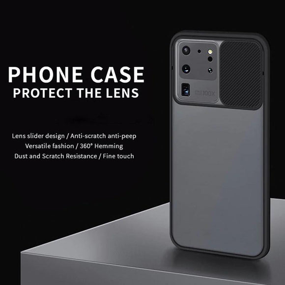 Slide Camera Lens Protection Phone Case for Samsung S21 S20 Note 20 Series