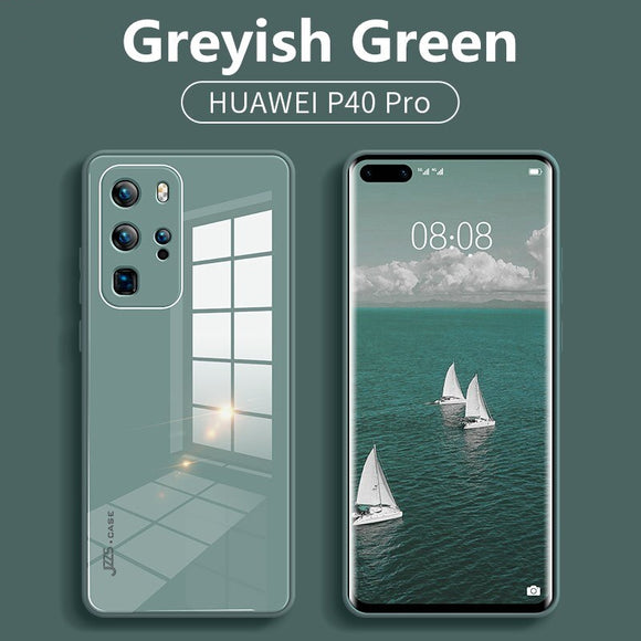 Luxury Liquid Tempered Glass Hybrid Soft Frame Case For Huawei Smartphone