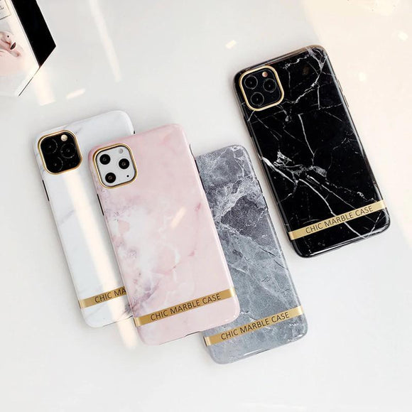Fashion Glossy Gold Bar Texture Marble High quality Soft IMD Case for iphone 11 Series