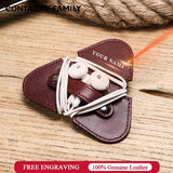 Genuine Leather Earphone Cord Organizer Earbuds Holder