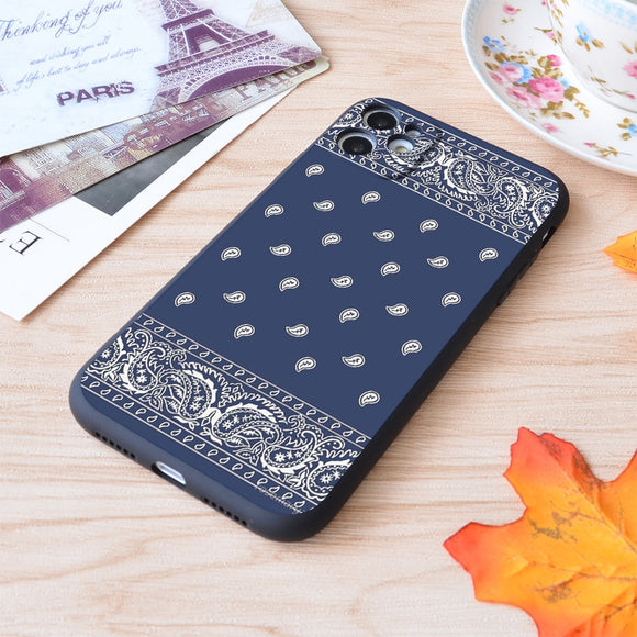 Bandana Blue Paisley Soft Silicone Matte Case For iPhone 12 11 Pro Max