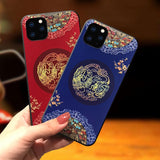 Embossed 3D Antiquity Style Shockproof Cover Case for iPhone 12 Series