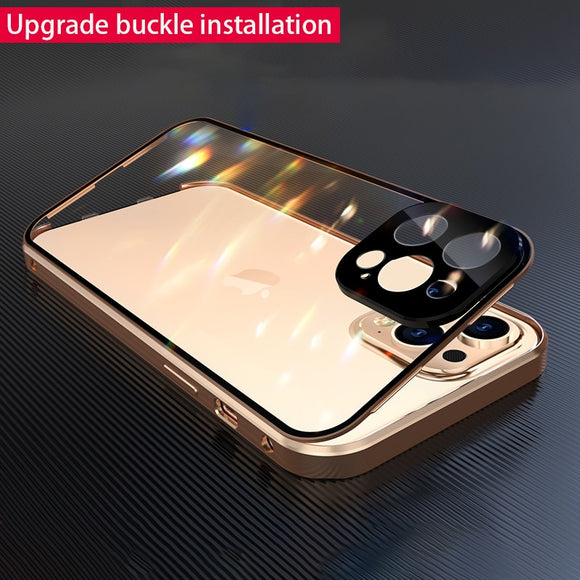 Luxury Metal 360 Buckle Installation Glass Case For iPhone 12 Series