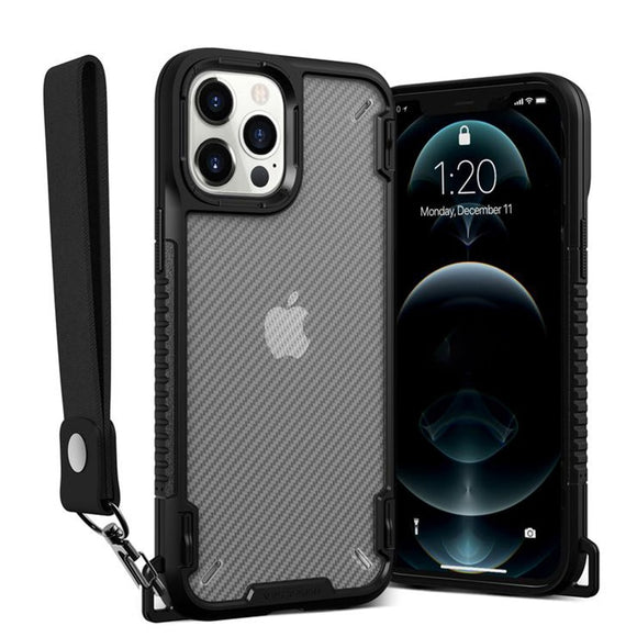 Shockproof Bumper Armor Transparent Lanyard Phone Case For iPhone 12 Series