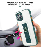 Colorful Invisible Car Bracket Shockproof Transparent Phone Case For IPhone 12 11 Pro Max