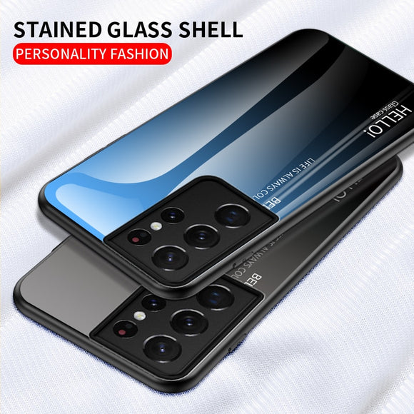Gradient Tempered Glass Fashion Back Cover Protective Case For Samsung Galaxy S21 S20 Note 20 Series