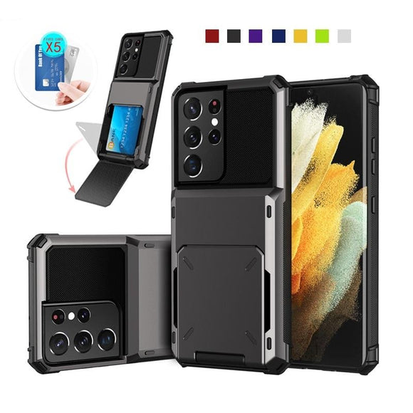 Credit Card Slot Holder Wallet Case for Samsung Galaxy S21 Note 20 S20 Series