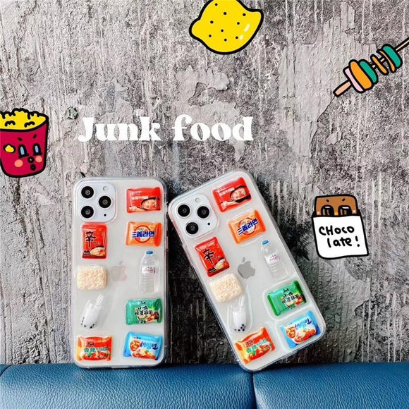 Cute 3D Anti-fall Snack Lovers Transparent Case For iphone 11 Series