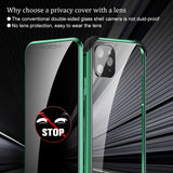 Privacy Metal Magnetic Tempered Glass Phone Case For Apple iPhone 11 Series