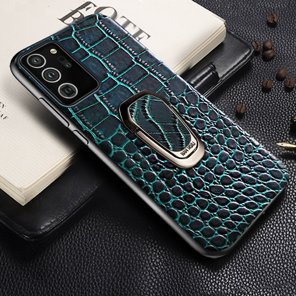 Genuine Leather Phone Case with Ring Kickstand for Samsung Galaxy Note 20 S20 Series