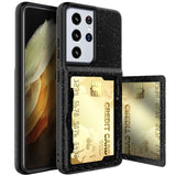 Dual Layer Shockproof Armor Wallet Case With Card Pocket Flip Makeup Mirror Phone Case for Samsung Galaxy S21 Ultra/Plus