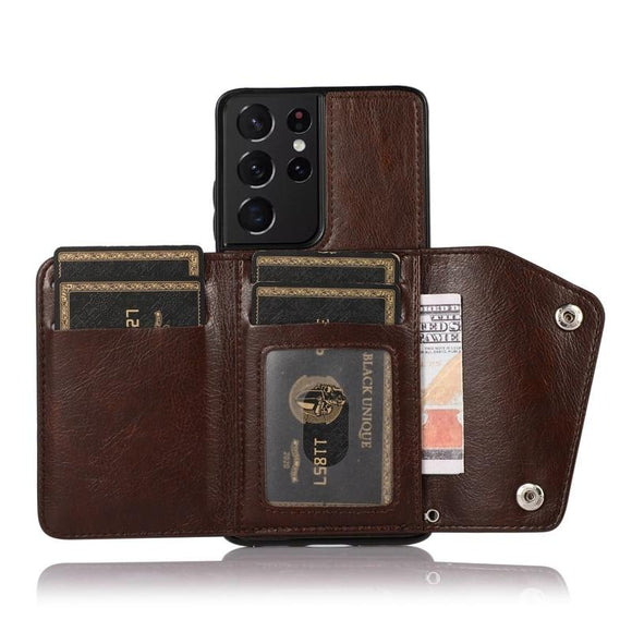 Retro Leather Wallet Card Stand Back Case for Samsung Galaxy S21 S20 Note 20 Series