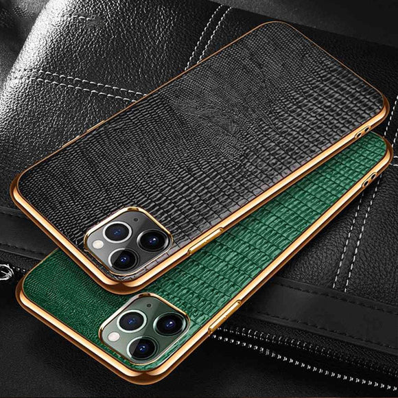 Luxury Plating Soft Edge Genuine Leather Case For iPhone 12 Series