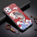 Embroidery Koi Crane Texture with Lanyard Ring Case for iPhone 11 Pro Pro Max