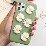 3D Korea Daisy Flower Silicon Phone Holder Shockproof Case For iPhone 11 Series
