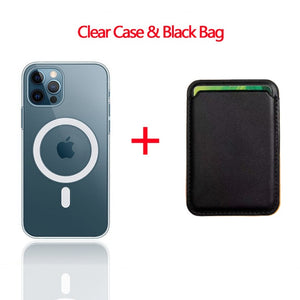 2 in 1 Transparent Magnetic Case + Magsafe Wallet Card Bag for iPhone 12 & 11 Series