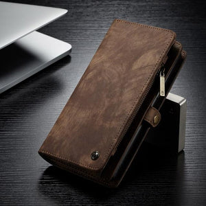 For Samsung Galaxy Note 9 Genuine Leather Zipper Multi-functional Wallet