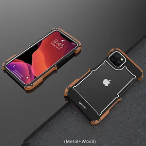 Luxury Hard Alloy Wood Protective Armor Case For iPhone 11 Series