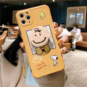Cartoon Charlie Brown Dog 3D Holder Stand Camera Protection Soft Case for iphone 11 Series