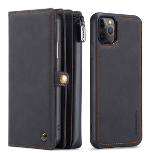 Fashion Luxury Vintage Leather Phone Bag Zipper Wallet Case for iPhone 12 Series
