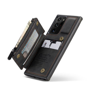Anti theft Swipe Mobile Wallet Case with A Waterproof Zipper Pocket Case for Samsung Note20 & S20 Series