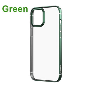 Soft TPU Transparent Plating Back Cover Shockproof Phone Case For iPhone 12 Series