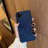 Fashion Solid Color Cloth Case For iPhone 11 Series Soft Silicone Slim Warm Plush Fabric Cover