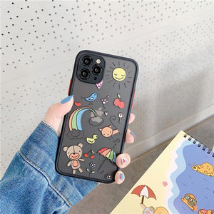 Cute Cartoon Transparent Matte Phone Case For iphone 11 Series