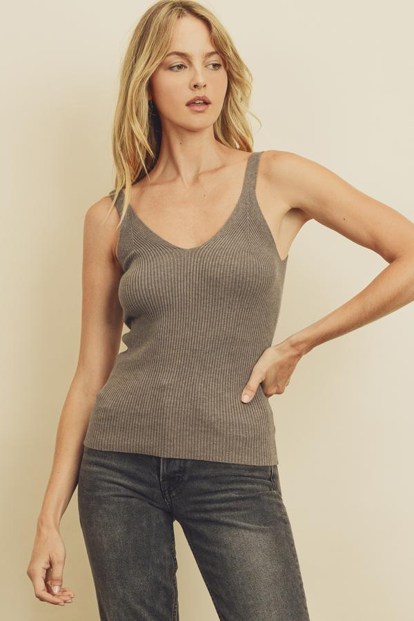 FINAL SALE Sleeveless Ribbed Knit Top