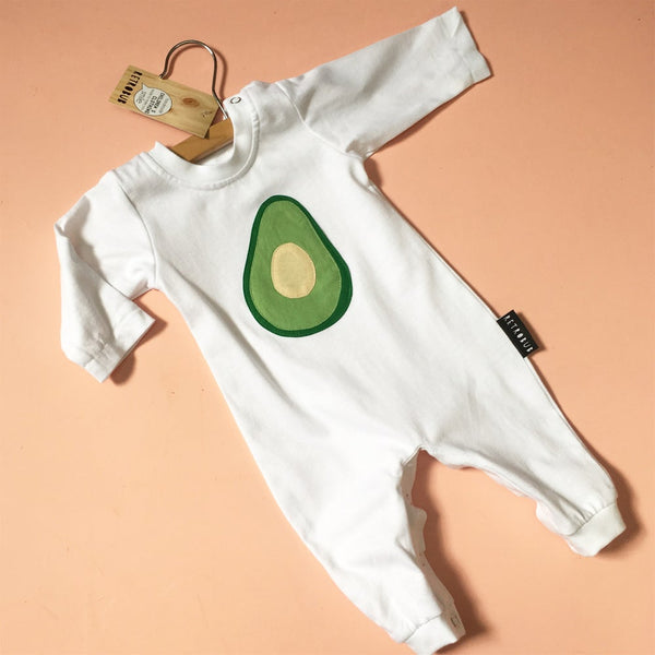 Avocado winter onesie - white