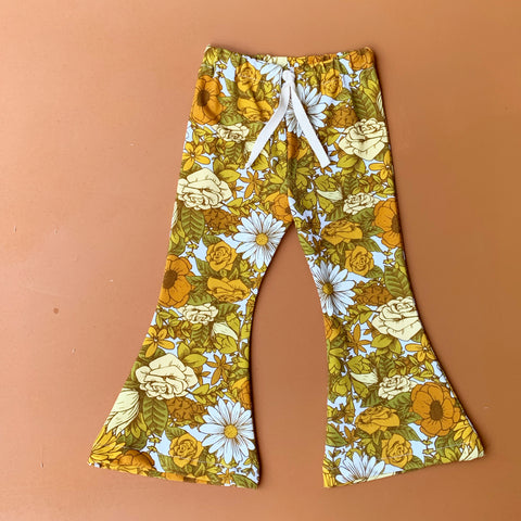retro bells leggings- beach flowers