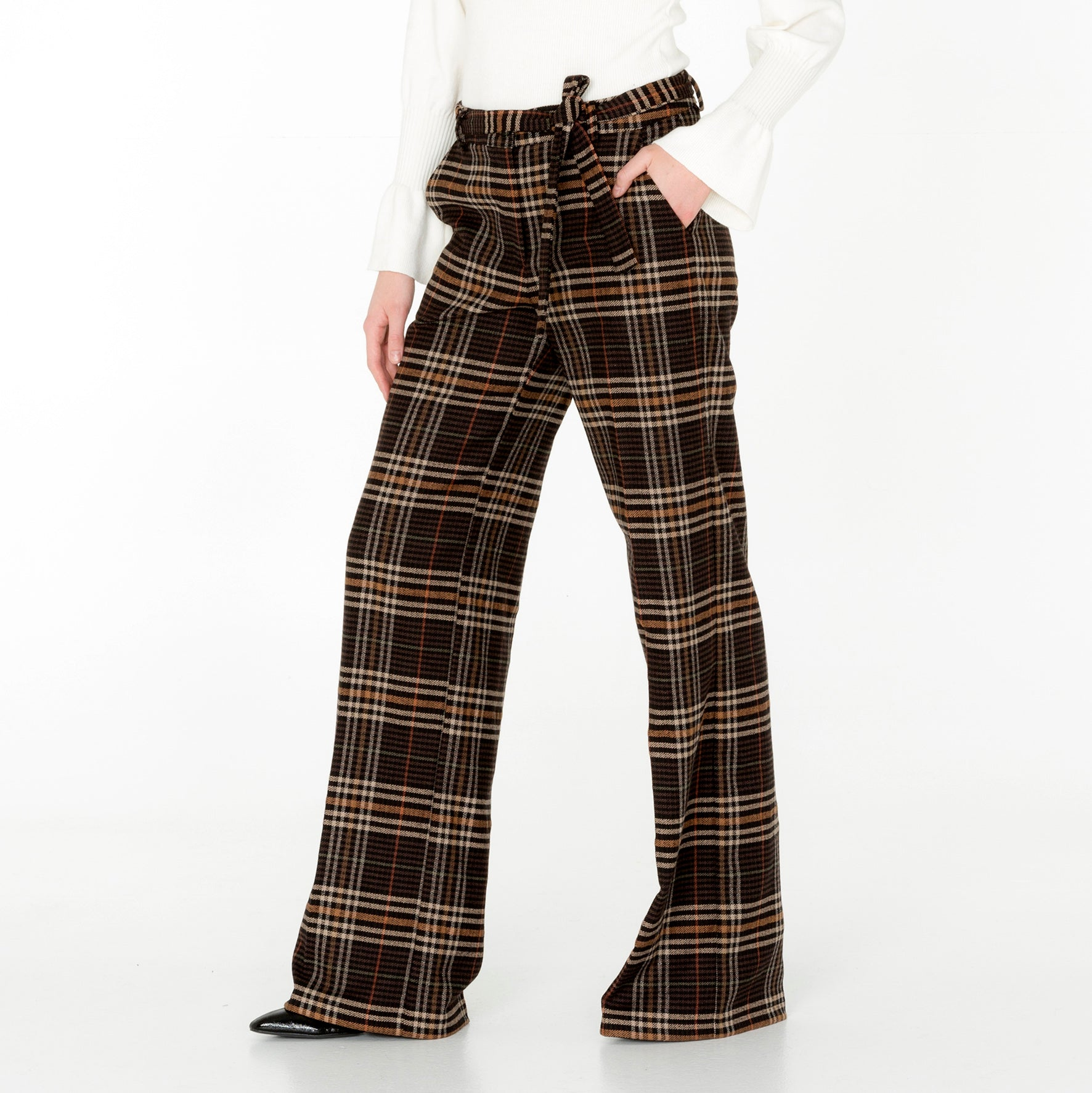Belted Wide Leg Trousers- Wool Blend
