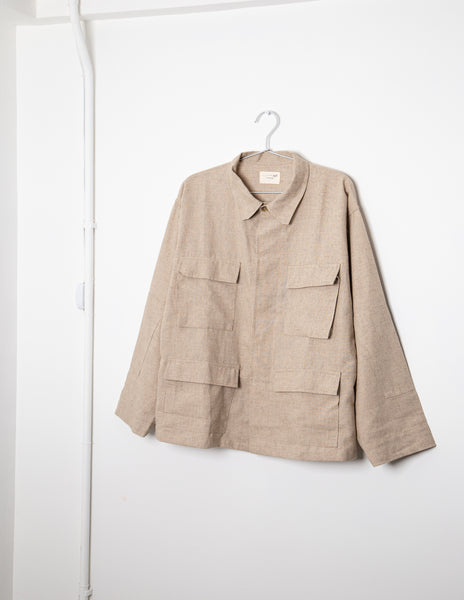 By R Linen Military Jacket