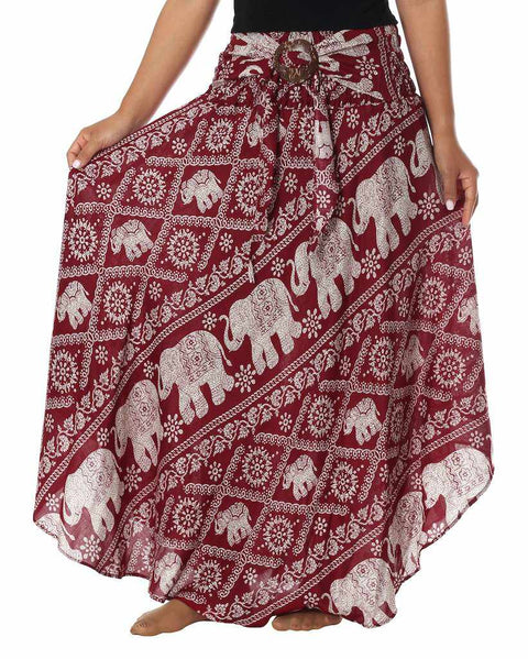 "BOHEMIAN ELEPHANT SKIRT-Rayon Skirt-Lannaclothesdesign Shop-Length 37"" S/M SIZE-Lannaclothesdesign Shop"