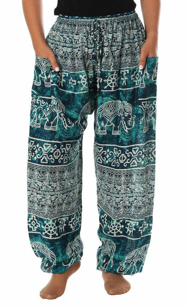 Elephant Harem Pants with Drawstring-Drawstring-Lannaclothesdesign Shop-Lannaclothesdesign Shop