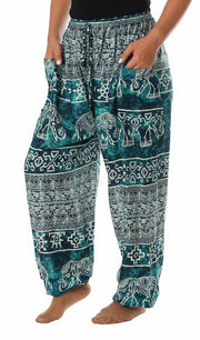 Elephant Harem Pants with Drawstring-Drawstring-Lannaclothesdesign Shop-Small-Teal-Lannaclothesdesign Shop