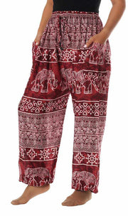 Elephant Harem Pants with Drawstring-Drawstring-Lannaclothesdesign Shop-Small-Burgundy-Lannaclothesdesign Shop