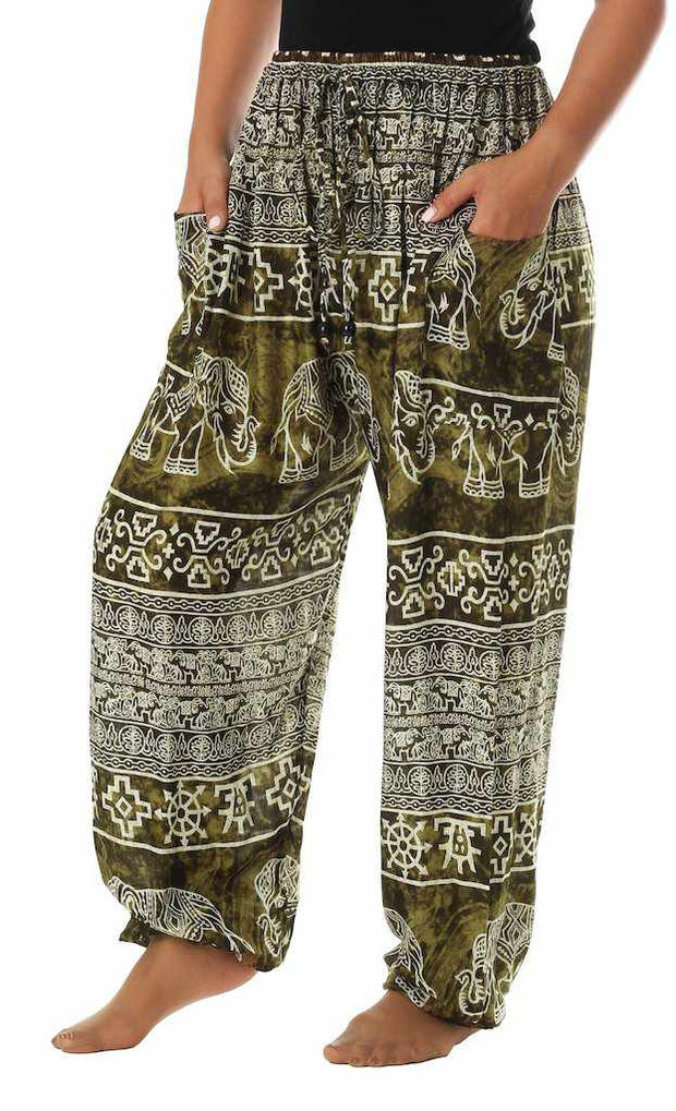 Elephant Harem Pants with Drawstring-Drawstring-Lannaclothesdesign Shop-Small-Green-Lannaclothesdesign Shop