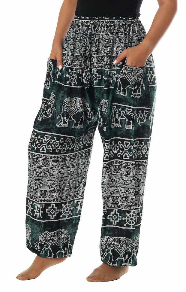 Elephant Harem Pants with Drawstring-Drawstring-Lannaclothesdesign Shop-Small-Black-Lannaclothesdesign Shop