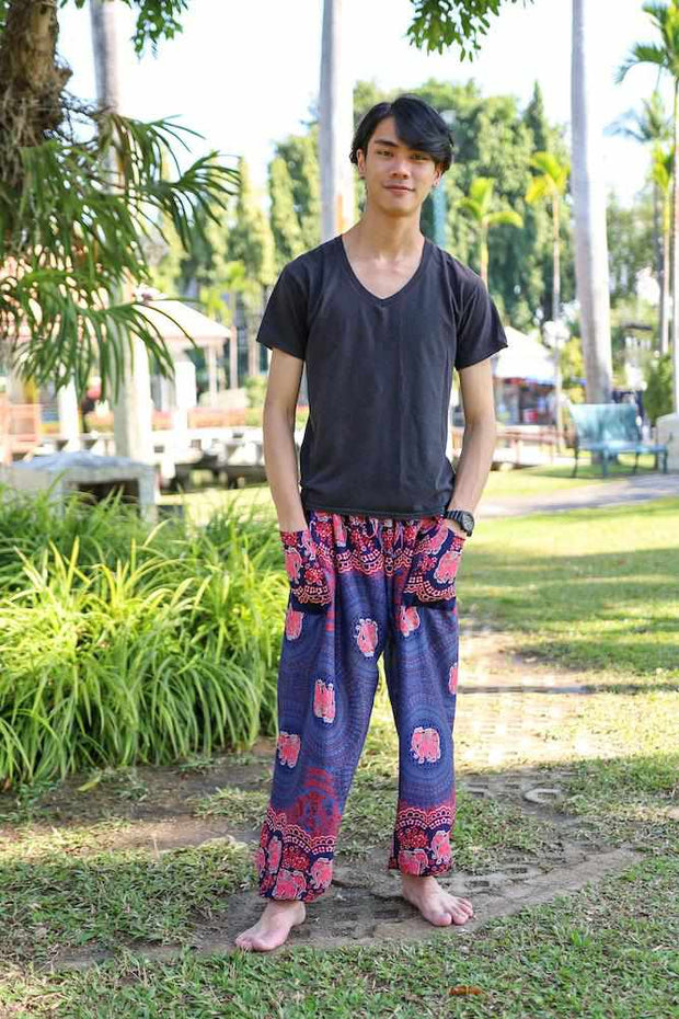 MENS BAGGY ELEPHANT PANTS-Men Pants-Lannaclothesdesign Shop-Small-Dark Blue-Lannaclothesdesign Shop