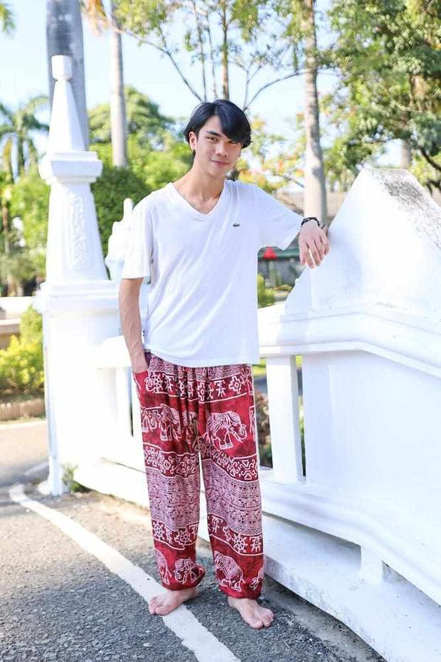 Elephant Printed HIPPIE PANTS MEN-Men Pants-Lannaclothesdesign Shop-Small-Burgundy-Lannaclothesdesign Shop