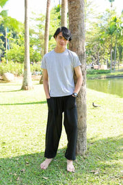 MEN BLACK HAREM PANTS-Men Pants-Lannaclothesdesign Shop-Lannaclothesdesign Shop