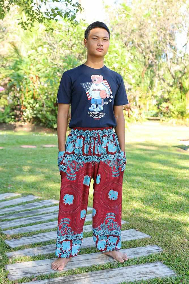 MENS BAGGY ELEPHANT PANTS-Men Pants-Lannaclothesdesign Shop-Small-Burgundy-Lannaclothesdesign Shop